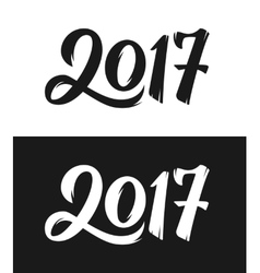 New Year 2017 hand drawn calligraphy numbers set vector image