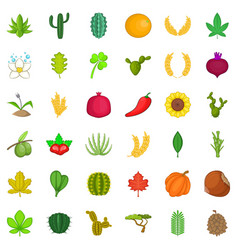 Organic plant icons set cartoon style vector