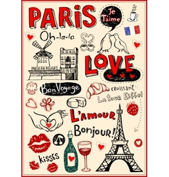 Paris love doodles vector image