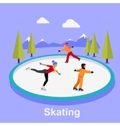 People Skating Flat Style Design vector image vector image