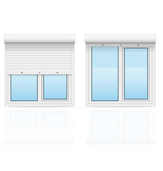 Plastic window with rolling shutters 03 vector