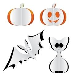Pumpkin bat and cat vector image vector image