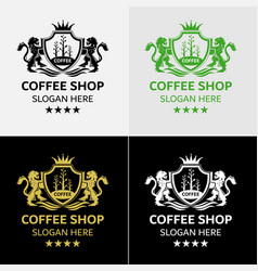 royal coffee logo template vector image vector image