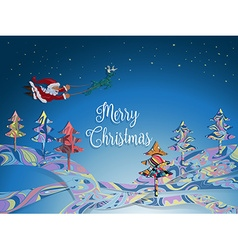 Santa without sleigh flying with deer in the vector image vector image