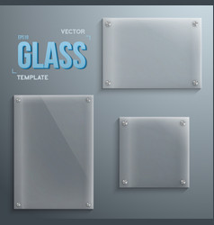 Set of realistic glass plate template icons vector