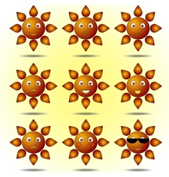 Set of smiling suns vector