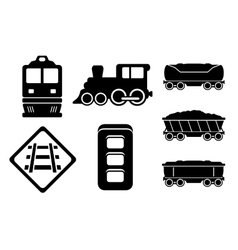 Set rail road black silhouette vector