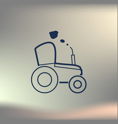 Tractor sketch icon isolated hand drawn vector