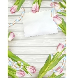 Tulips lying on a white textured table eps 10 vector