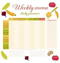 Weekly menu cute vintage daily planner vector