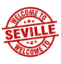 Welcome to seville red stamp vector