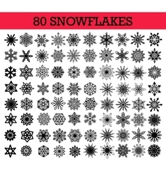 Snowflakes Isolated Set vector image