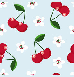 Cute seamless pattern with cherry fruit and vector