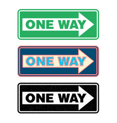 One way sign set vector