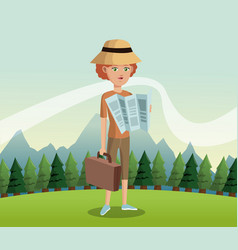 Woman traveler tourist with map hat suitcase vector