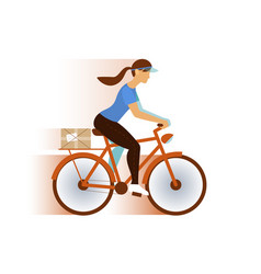 Cute postman girl delivery mail or package email vector