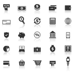 Payment icons with reflect on white background vector