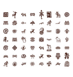 brown tribal symbols set vector image