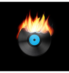 Burning vinyl record disc vector