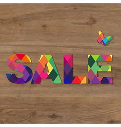 Wooden background with sale text vector