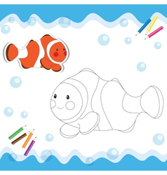 Coloring book clownfish vector