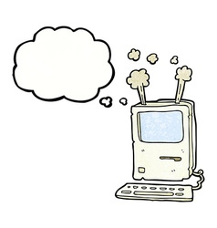 Cartoon old computer with thought bubble vector