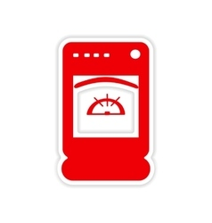 Icon sticker realistic design on paper cooker vector