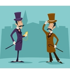 Victorian gentleman meeting businessman cartoon vector