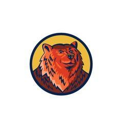Russian bear head circle retro vector