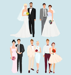 Beautiful elegant wedding couples man and women vector