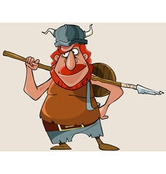 Cartoon viking red man with a weapon vector