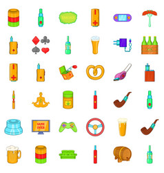 Adult habit icons set cartoon style vector