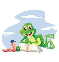 An earthworm and a frog reading vector image
