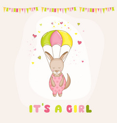 Baby girl kangaroo flying with a parachute vector