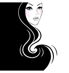 Beautiful womans silhouette vector image vector image
