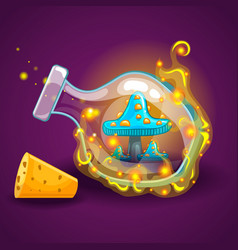 Bottle with magic smoke and mushrooms vector