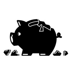 Broken piggy bank icon simple black style vector