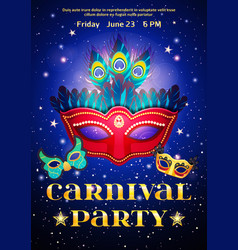 Carnival party poster with date of event vector