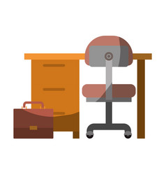 Colorful graphic of work place office interior and vector