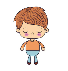 Colorful silhouette of kawaii little boy with vector