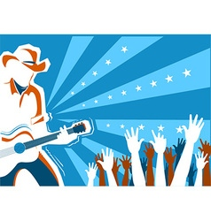 Country music concert with singer and guitar vector image vector image