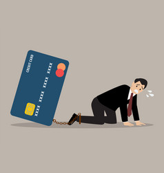desperate businessman with credit card burden vector image vector image