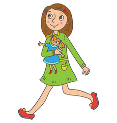 Girl with a doll vector