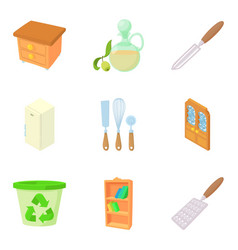 Houseware icons set cartoon style vector