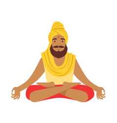 Indian yogi in padmasana lotus pose wearing vector