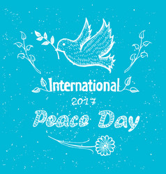 International peace day poster with dove flying vector