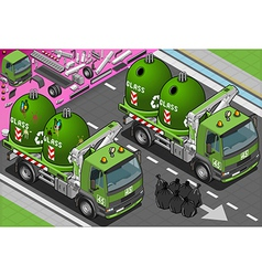Isometric Glass Garbage Truck with Container in vector image vector image