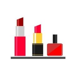 Lipstick nail varnish makeup flat icon vector