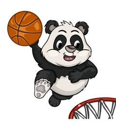 Little panda is playing basketball vector image vector image