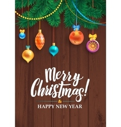 Merry christmas happy new year tree decorated vector